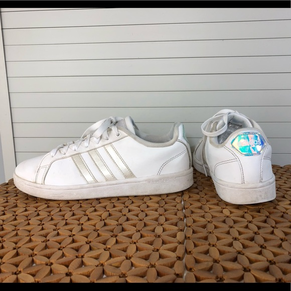 adidas Women's NEO Cloudfoam Stripe Court Shoes, 8